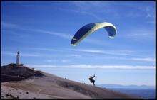 Fred Roche sous son Omega au sommet du Ventoux, novembre 1999