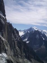 1er plan les drus au loin le Mt blanc